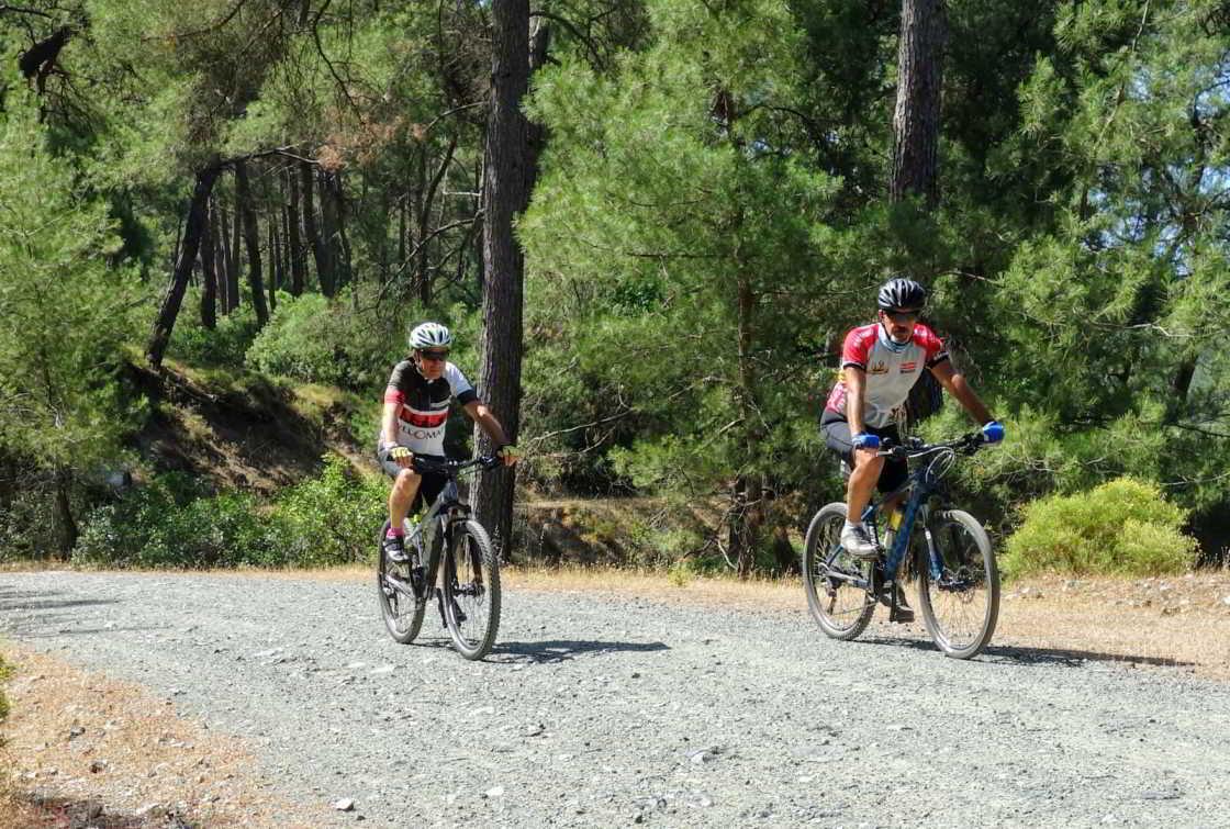 Twee mountainbikers in de pijnboombossen bij Marmaris